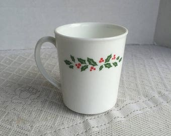 CIJ Corning Ware Holly Berry Coffee Cup / Vintage Tempered Glass Christmas Mug
