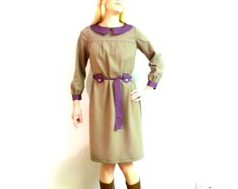 Retro dress brown and purple