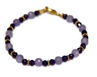 Purple Agate Gemstone and Lavender Jade Gemstone Beaded Bracelet Gift for her 24K overlay spacer beads Vermeil