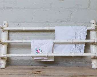 Vintage French towel rail, white painted, country kitchen, country bedroom, bathroom, shabby chic, cottage home, towel rail