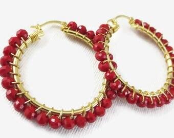 Red Beaded Hoop Earrings, Gold Plated Hoops, Beaded Hoops, Medium Hoop Earrings, Red Earrings, Hoops
