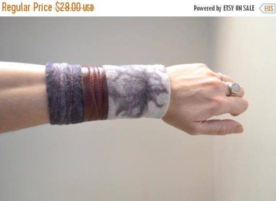 ON SALE Hand Dyed Cuff Bracelet - Purple Cuff Bracelet - Organic Cotton Cuff Bracelet - Cuff Bracelet