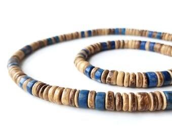 """Mens necklace and bracelet set - """"Tribal Lapis"""""""