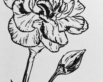 Carnation Painting, acrylic line drawing, floral art, flower wall art, flower bouquet