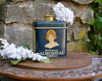 Wonderful Antique/Vintage 1920s Advertising Tin of Dr. Palmer's Almomeal Facial Cleanser with beautiful graphics of a lovely lady!