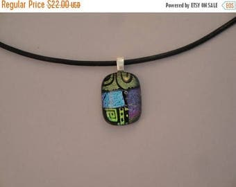 Christmas in July Sale Fused Dichroic Glass Multi-Colored Pendant - BHS03633