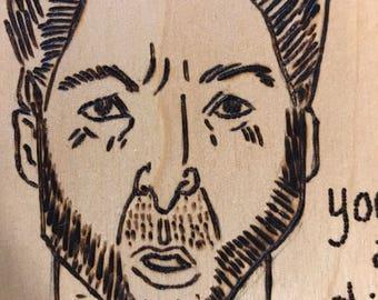 Wolverine woodburned portrait