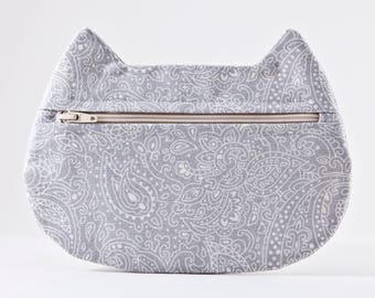Gray Paisley Cosmetic Bag, Cat Makeup Bag, Floral Pencil Case, Boho Bag, Cat Lover Gift, Zipper Bag, Toiletries Bag, Summer Outdoors