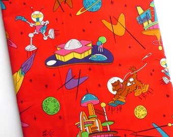 Vintage Dogs In Space Cartoon Cotton Woven Fabric Retro Space Print