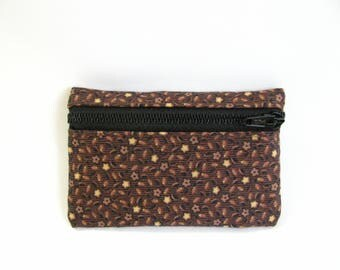 Small pouch- Brown and tan gingham cotton