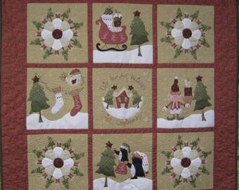 """This House Believes in Christmas, Quilt Pattern, 48"""" square,Eleves, trees, houses, penquins, dresden paltes, stockings, floss included"""