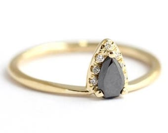ON SALE Black Diamond Pear Engagement Ring - Black Diamond Ring - Diamond Ring - 18k Gold