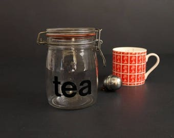 Vintage Typographic Tea Jar Cannister Large Mod Font 3L Clear Glass Container with Clamp Top