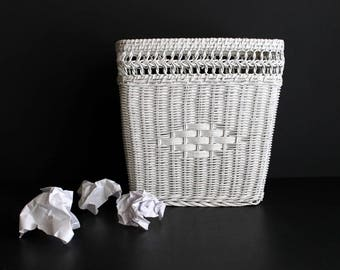 Vintage Wicker Waste Paper Basket White Rattan Trash Can