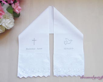 Christening shawl with lace/embroidery,100% Cotton