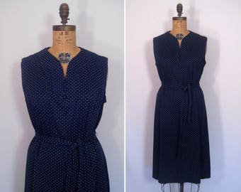 1970s navy and white swiss dot day dress • 70s dark blue polka dot dress • vintage pump it up dress