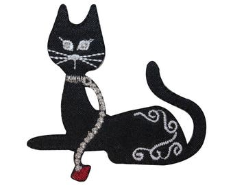 ID 2895 Black Cat With Leash Patch Kitty Kitten Embroidered Iron On Applique