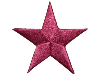 ID 3434 Pink Star Patch Symbol Space Night Sky Embroidered Iron On Applique