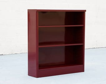 1960s Steel Tanker Style Bookcase Refinished in Wine Red