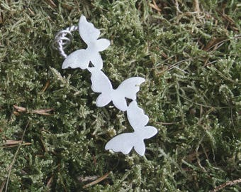 Silver butterfly pendant, handmade butterfly pendant, sterling silver butterfly