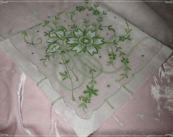 No. 200 ANTIQUE Swiss Cotton Hand Embroidered Handkerchief, Green Embroidery No. 54