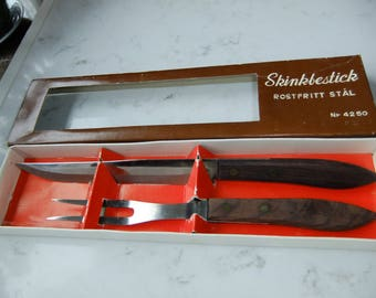 Vintage Swedish set of two pork cutlery - Stainless steel and wood - original box