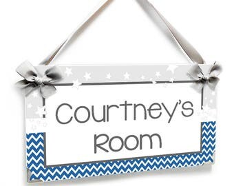 blue and white chevron persobalizable baby girl bedroom door sign grey and white stars nursery decor - P2669
