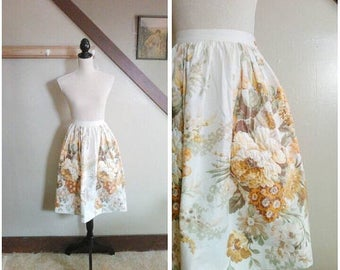 20% OFF / The Autumn Harvest 1950s Cream/Brown/Green/Gold Floral Print Skirt with Rhinestone Detail