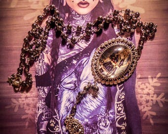 Chaplet Rosary beads black hematite cameo Mexican Sugar Skulls calavera gypsy Bohemian ♰Sucker Punch Babydoll♰