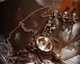 Bronze cabochon necklace steampunk tattoo skullbird feathers ♠All Seeing Eye♠