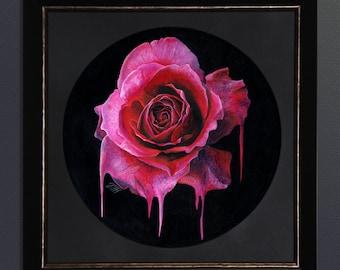 Brittle Heart, acrylic on gesso board, 34 x 34 cm Original Painting framed