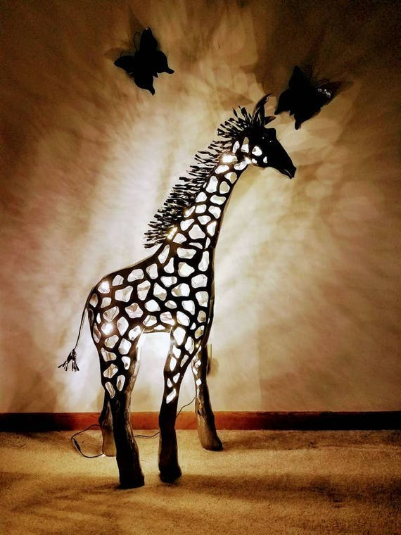 Giraffe Metal Sculpture, Illuminated Floor Piece, Commission, 2015