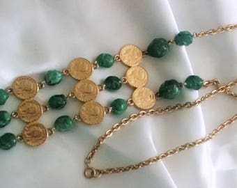 Necklace Vintage Gold Coin Faux Jade Drops Long Chain Statement Bohemian Chic Runway