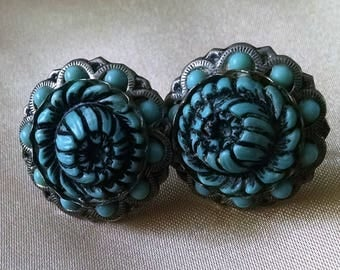 Earrings Vintage Blue Floral Turquoise Buds Screw Back Silver Plated Celluloid Chunky Boho Chic Raised Dimensional Design