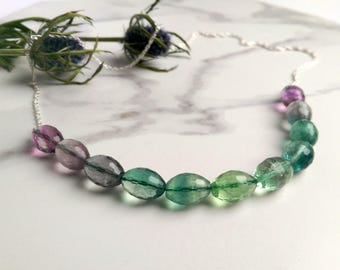 Fluorite purple & green Ombre Necklace with sterling chain