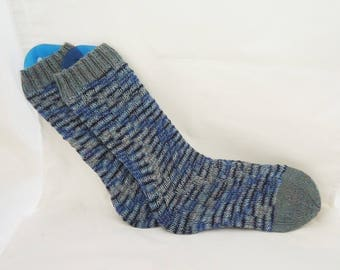Knitted Socks, Swirls Socks, Spirals Socks, Socks Without Heel, Blue and Grey Swirl Socks