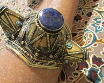 Bleu, or et Spike tribal Bracelet