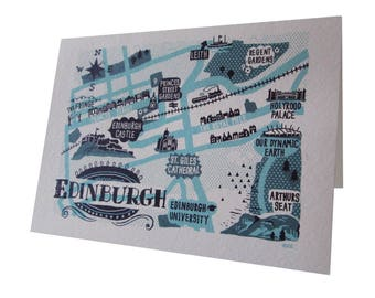 Edinburgh map greetings card