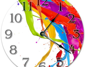 "10.5"" Colorful PAINTS Clock - Living Room Clock - Large 10.5"" Wall Clock - Home Décor Clock - 5355"