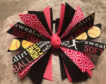 Softball bow - softball ponytail - softball pony o - softball hair bow - softball hair tie - softball ribbon - hair streamers - Hot Pink