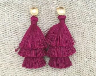 Grace Drop Earrings, Wine Tassel Earrings, Triple Tassel Statement Earrings Brushed Gold Connector,Bridal, Weddings, Holiday, Gifting