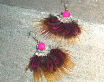 Flemenca Feather Statement Earrings, Crystal Boho Chic Drop Earrings, Gold Filled Earrings, Statement Earrings, Dangle Feather Earrings