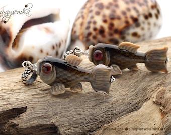 Fish  - a pendant lampwork artisan beads svarowski