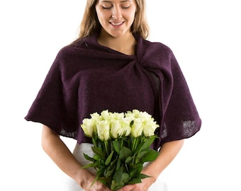 Winter wedding knit capelet .Romantic Wedding Bridal Cape. Aubergine Bridal pelerine .Evening Bolero Shrug. Plum Wedding Bolero TIE THE KNOT