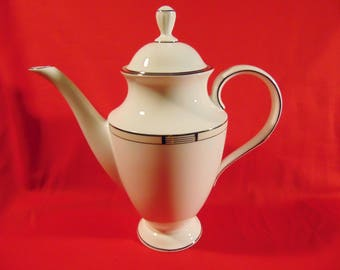 """One (1), Vintage, 10 1/2"""" Tall, Porcelain, Coffee Pot, from Lenox in the High Society Pattern. New / Old Stock"""