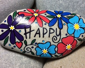 Happy Rock - HAPPY - Hand-Painted Beach River Rock Stone - purple blue red turquoise flower pansy petunia bouquet