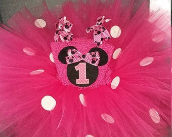 Pink and Black Minnie Mouse Costume Flower Girl Tutu Dress Birthday Outfit