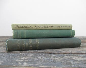 Vintage Gardening Books, House Plants, Field Book of Botany, Gift for Gardener, New Home Gift, Gardening Guides, Green Book Stack