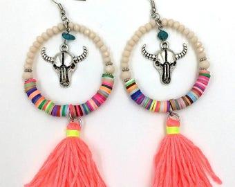Neon Pink Tassel Fringe Earrings