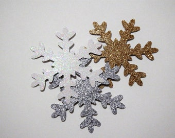 12 Glitter 3 inch Snowflakes,Silver,Gold,White,Winter Onederland,Wedding,Baby Shower,Decorations,Winter Theme